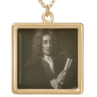 Portrait of Henry Purcell (1659-95) engraved by Ge Square Pendant Necklace