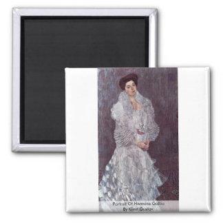 Portrait Of Hermine Gallia By Klimt Gustav 2 Inch Square Magnet
