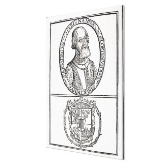 Portrait of Hernado Cortes  and his arms Canvas Print