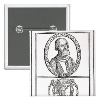 Portrait of Hernado Cortes  and his arms Pinback Button