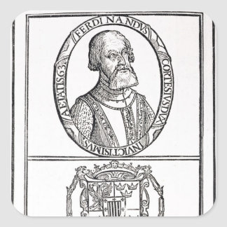 Portrait of Hernado Cortes  and his arms Square Sticker