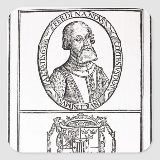 Portrait of Hernado Cortes  and his arms Sticker