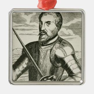 Portrait of Hernando de Soto Metal Ornament
