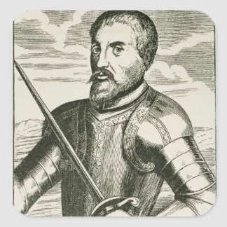 Portrait of Hernando de Soto Square Sticker