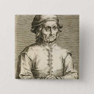 Portrait of Hieronymus Bosch (c.1450-1516) plate 3 Button
