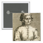 Portrait of Hieronymus Bosch (c.1450-1516) plate 3 Button