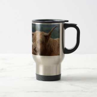 portrait of Highland Cattle Travel Mug