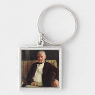 Portrait of Hilaire Degas Silver-Colored Square Keychain