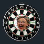 "Portrait of Hillary Clinton Political Dart Board<br><div class=""desc"">Portrait of Hillary Clinton Dart Board. Hillary Clinton is a woman who needs no lengthy introduction. Originally from Chicago, Illinois, she attended Wellesley College for a degree in Political Science, then went on to Yale Law School. It was during her schooling at Yale that she met her now-current husband and...</div>"