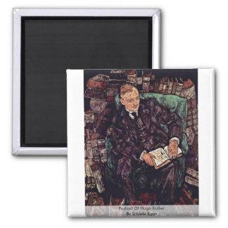 Portrait Of Hugo Koller By Schiele Egon Fridge Magnet