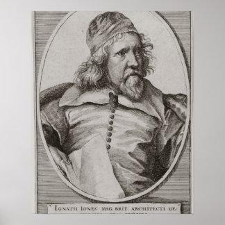 Portrait of Inigo Jones (1573-1652) engraved by We Poster