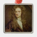 Portrait of Isaac Newton  1702 Square Metal Christmas Ornament