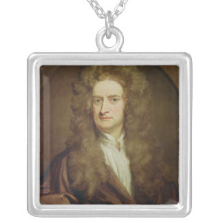 Portrait of Isaac Newton  1702 Silver Plated Necklace