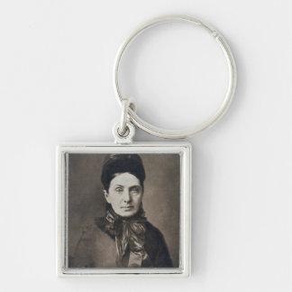 Portrait of Isabella Bird Bishop Silver-Colored Square Keychain