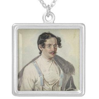 Portrait of Ivan Annenkov  in Peter Prison, 1836 Square Pendant Necklace