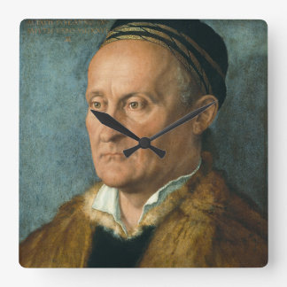 Portrait of Jacob Muffel by Albrecht Durer Square Wall Clock