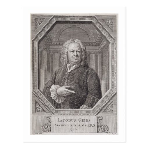 Portrait of James Gibbs (1682-1754) from 'Plans, S Postcards