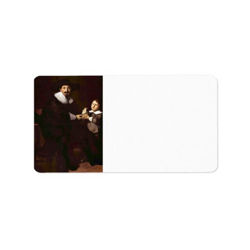 Portrait of Jan and his son Pellicorne - Rembrandt Personalized Address Label