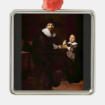 Portrait of Jan and his son Pellicorne - Rembrandt Christmas Tree Ornaments