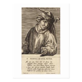 Portrait of Jan van Eyck (c.1390-1441) plate 2 in Postcard