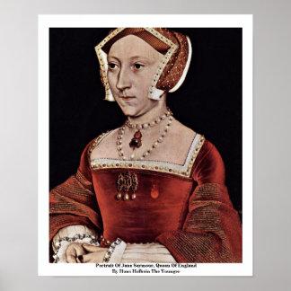 Portrait Of Jane Seymour, Queen Of England Poster
