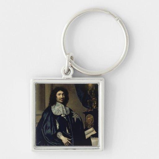 Portrait of Jean-Baptiste Colbert de Torcy  1666 Silver-Colored Square Keychain