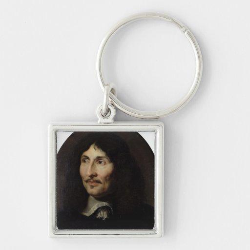 Portrait of Jean-Baptiste Colbert de Torcy Silver-Colored Square Keychain