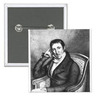 Portrait of Jean Baptiste Count of Villele 2 Inch Square Button