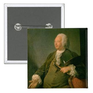 Portrait of Jean-Baptiste Oudry (1686-1755) c.1753 2 Inch Square Button