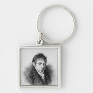 Portrait of Jean Baptiste Say Silver-Colored Square Keychain