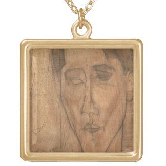 Portrait of Jean Cocteau (1889-1963) 1917 (pencil Gold Plated Necklace