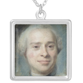 Portrait of Jean Le Rond d'Alembert  1753 Silver Plated Necklace