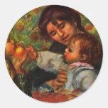 Portrait Of Jean Renoir And Gabrielle With Her Chi Round Sticker