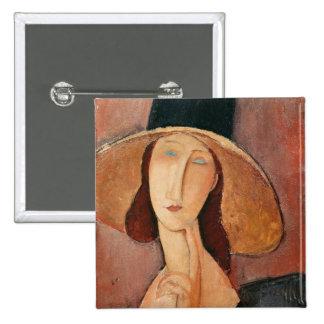 Portrait of Jeanne Hebuterne in a large hat Button