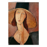 Portrait of Jeanne Hebuterne in a large hat Cards