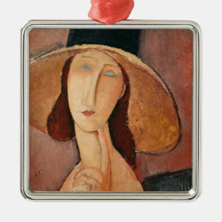 Portrait of Jeanne Hebuterne in a large hat Metal Ornament