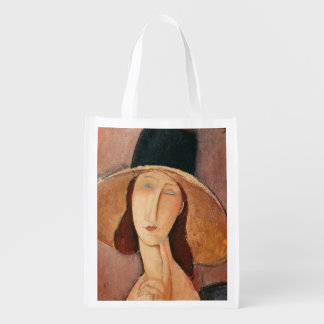 Portrait of Jeanne Hebuterne in a large hat Reusable Grocery Bags