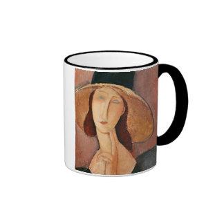 Portrait of Jeanne Hebuterne in a large hat Ringer Mug