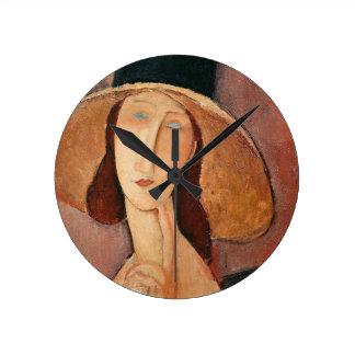 Portrait of Jeanne Hebuterne in a large hat Round Clock