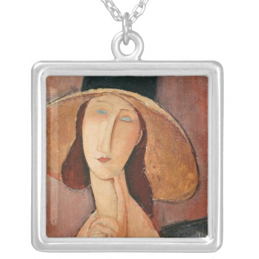 Portrait of Jeanne Hebuterne in a large hat Square Pendant Necklace
