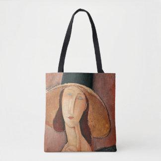 Portrait of Jeanne Hebuterne in a large hat Tote Bag