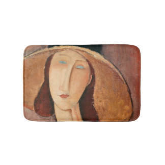 Portrait of Jeanne Hebuterne in a large hat Bath Mats