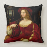 Portrait of Jeanne of Aragon (c.1500-77) wife of A Throw Pillow