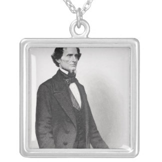 Portrait of Jefferson Davis Silver Plated Necklace
