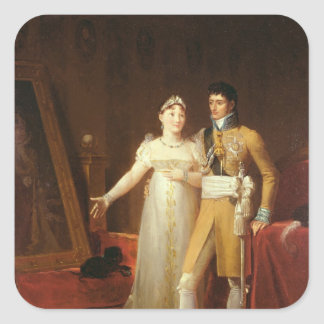Portrait of Jerome Bonaparte  and his wife Square Sticker