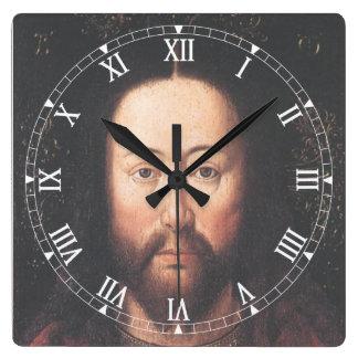Portrait of Jesus Christ by Jan van Eyck Square Wall Clock