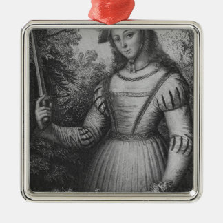 Portrait of Joan of Arc Square Metal Christmas Ornament