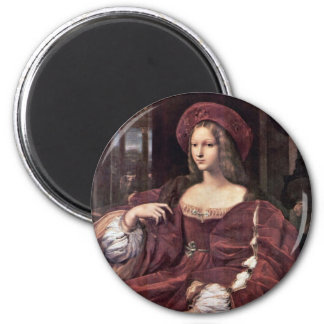 Portrait Of Joanna Of Aragon By Raffael 2 Inch Round Magnet
