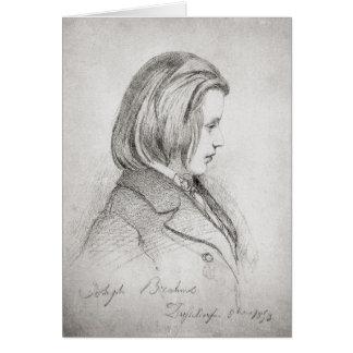 Portrait of Johanes Brahms  aged Twenty, 1853 Greeting Card