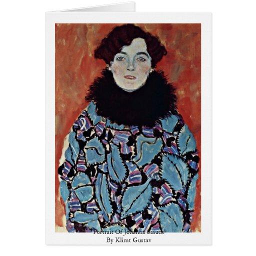Portrait Of Johanna Staude By Klimt Gustav Card